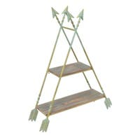 Three Hands Brown /Green Metal Arrow Wall Shelf