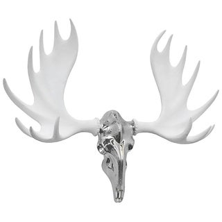 Three Hands Silver/White Resin Moose Wall Decor