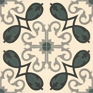 Agadir Royal Green and Black Handmade 8x8 Cement Tile (Pack 12)