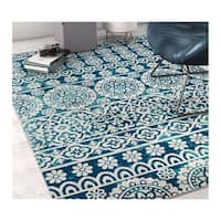 Well Woven Sayan Modern Tile Work Blue Area Rug - 5'3 x 7'3