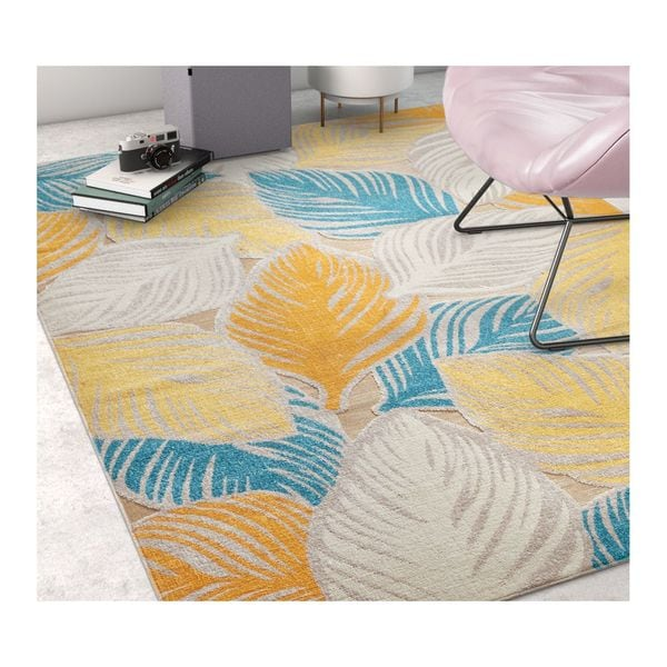 Well Woven Sayan Modern Abstract Tropical Leaves Sunshine Area Rug - 7'10 x 9'10