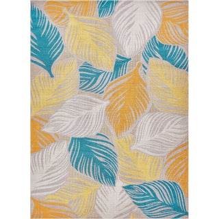Well Woven Sayan Modern Abstract Tropical Leaves Sunshine Area Rug - 7'10 x 9'10