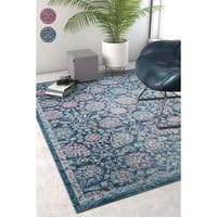 Well Woven Sayan Traditional Vintage Oriental Blue Area Rug - 7'10 x 9'10