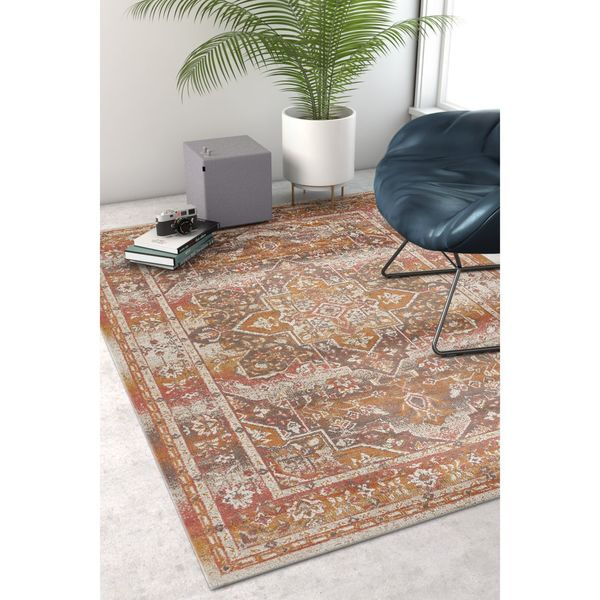 Well Woven Sayan Tradtional Distressed Ethnic Border Earth Area Rug - 7'10 x 9'10