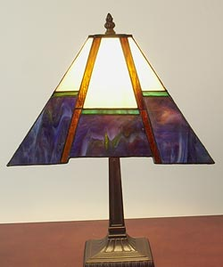 Tiffany-style Blue Mission-style Table Lamp - Thumbnail 2