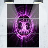 Phase1 Rounded Purple Glowing Fractal Flower - Large Abstract Glossy Metal Wall Art