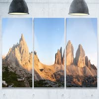 Phase1 Designart - Tre Cime and Monte Paterno at Sunset - Landscape Glossy Metal Wall Art