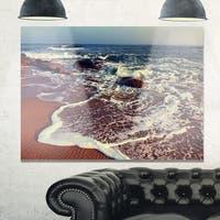 Phase1 Foaming Waves Kissing Wide Beach - Large Seashore Glossy Metal Wall Art