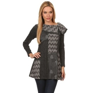 High Secret Women's Gray Embellished Asymmetrical Collar Tunic-Top (2 options available)