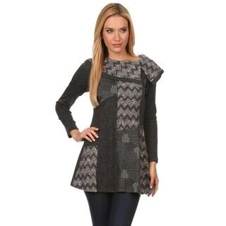High Secret Women's Gray Embellished Asymmetrical Collar Tunic-Top
