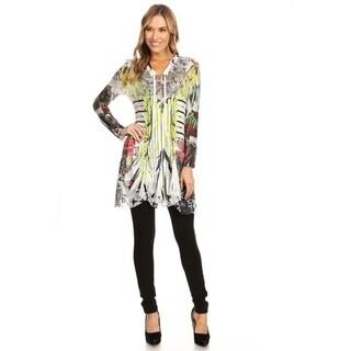High Secret Women's Green Patchwork Lightweight Zip-Up Tunic-Top