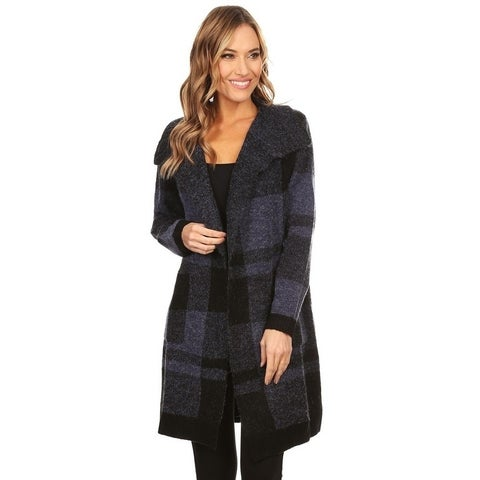 High Secret Women's Navy Plaid Thick Knit Long Sleeves Long Open Front Cardigan