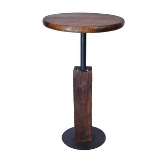 Groovystuff Walnut Brown Wood/Metal Solid Top I-Beam Pub Table