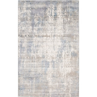 Allure Handmade Vintage Abstract Grey Blue Viscose Rug