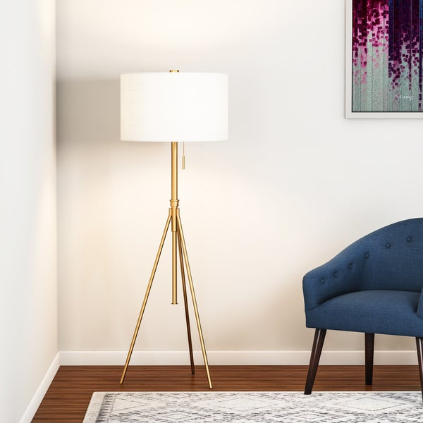 Carson Carrington Vasteras Adjustable Tripod Matte Gold Metal Floor Lamp