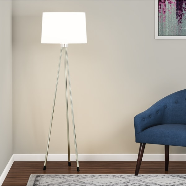 Carson Carrington Vasteras Metal and White Fabric 3-legged 1-light Floor Lamp