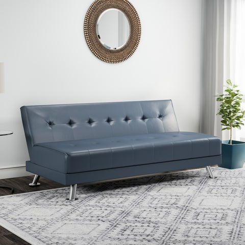 Clay Alder Home Champlain Steel Blue Leather Sofa Bed