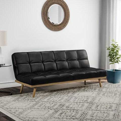 Carson Carrington Jesjofors Mid-century Black Leather Sofa Bed