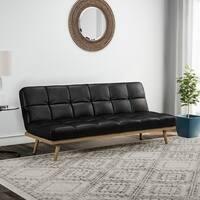 Carson Carrington Jesjofors Mid-century Black Leather Futon Sofa Bed