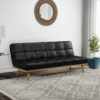 Carson Carrington Jesjofors Mid Century Black Leather Sofa Bed