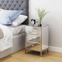 Dorrin Mirrored 3-drawer Side End Table by Christopher Knight Home - Silver