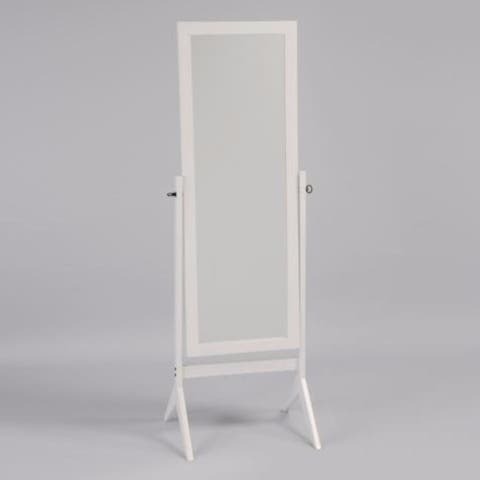 Contemporary Style Wooden Cheval Mirror, White