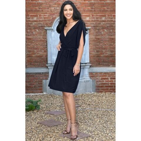 KOH KOH Womens Short Split Sleeve Batwing Wrap V-Neck Flowy Midi Dress