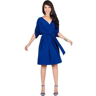 KOH KOH Womens Short Split Sleeve Batwing Wrap V-Neck Flowy Midi Dress