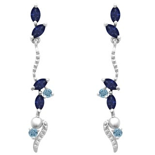 Orchid Jewelry 2.60 Carat Sapphire & Aquamarine Gemstone Drop Earrings