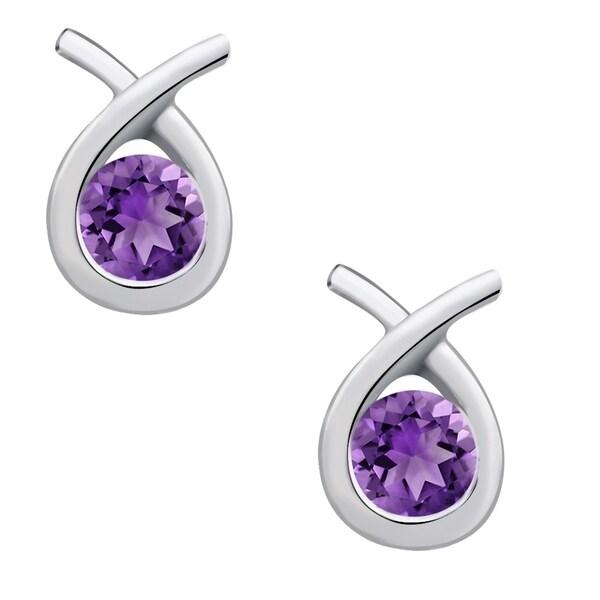 b64721fe4 Shop 925 Sterling Silver 0.46 Carat Amethyst Stud Earrings By Orchid ...
