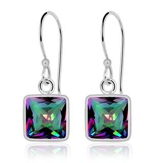 Orchid Jewelry 1.46 Carat Mystic Quartz 925 Sterling Silver Hook Earrings