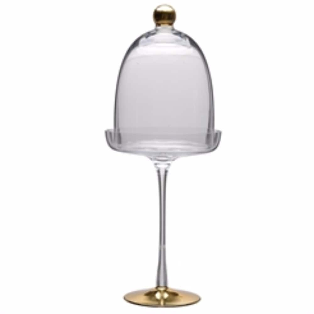 Benzara Well-designed Glass Pedestal Dome, Clear