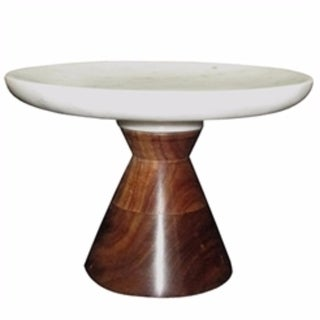 Alluring Marble Cake Plate With Wooden Stand, White And Brown - white and brown