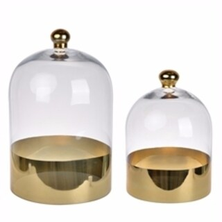Captivating Glass Domes, Set of 2, Clear And Gold - clear and gold