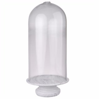 Tall Rustic Couture Glass Dome with a marble base, Clear And White - clear and white