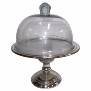 Aluminum & Glass Domed Cake Stand, Clear And Silver - clear and silver