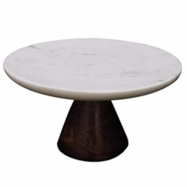 Appealing Marble Cake Plate With Wooden Stand, White And Brown - white and brown