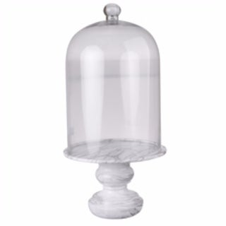 Medium Rustic Couture Glass Dome With Marble Base, Clear And White - clear and white