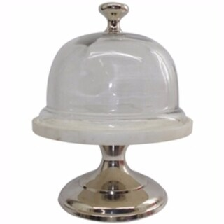 Aluminum Cafe Couture Cake Stand with Glass Dome Lid. - silver and clear