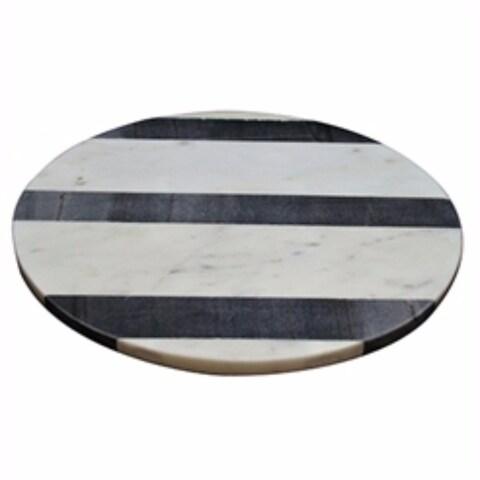 Round Monochrome Marble Board, White And Black