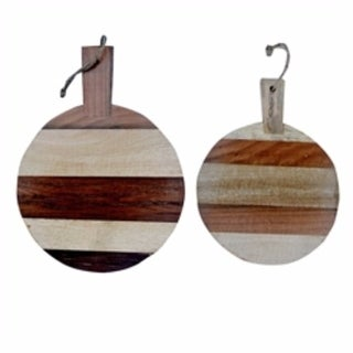 Round Shaped Wooden Cutting Boards, Brown, Set Of 2