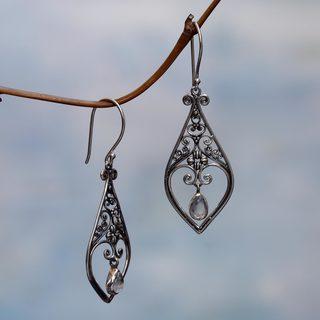 Handmade Sterling Silver 'Weeping Hearts' Rainbow Moonstone Earrings (Indonesia)