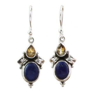 Handmade Sterling Silver 'Indian Fog' Citrine Lapis Lazuli Earrings (India)