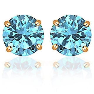 14k Solid White OR Yellow Gold Round-Cut CZ Stud Earrings by Orchid Jewelry (More options available)