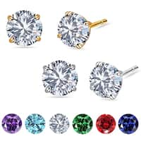 14k Solid White OR Yellow Gold Round-Cut CZ Stud Earrings by Orchid Jewelry