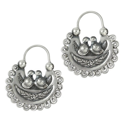 Handmade Sterling Silver 'Mazahua Lovebirds' Earrings (Mexico)