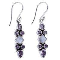 Handmade Sterling Silver 'Mesmerizing Shapes' Rainbow Moonstone Amethyst Earrings (India)