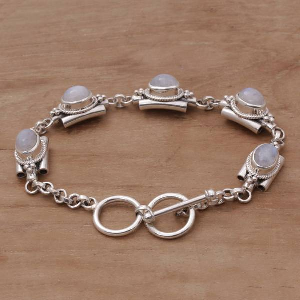 Handmade Sterling Silver Misty Domes Rainbow Moonstone Bracelet Indonesia