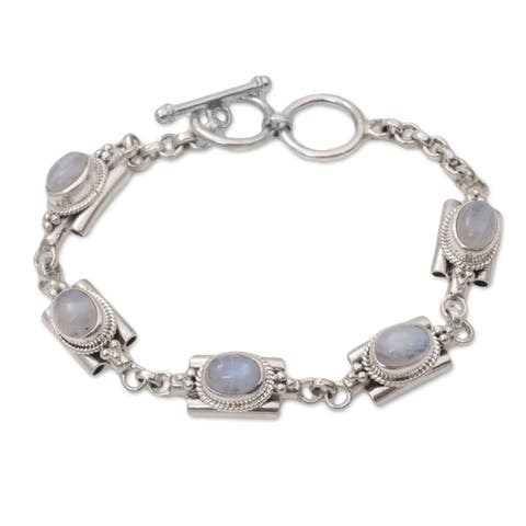 NOVICA Handmade Sterling Silver 'Misty Domes' Rainbow Moonstone Bracelet (Indonesia)