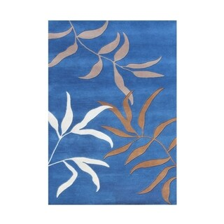 The Alliyah Blue Floral Design 100% Pure Wool Fibers Rug 5x8